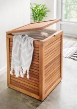 Spa Wäschebox Badezimmer Wäschetruhe Teak Teakholz Truhe Design Wäsche Box