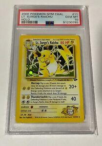 Pokemon Card 2000 Gym Challenge Set Lt Surge's Raichu HOLO 11/82 PSA 10 GEM MINT
