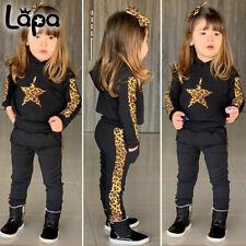 Lapa Mädchen Kleinkind Kinder Baby Kleidung Leopardenhose Trainingsanzug Outfits