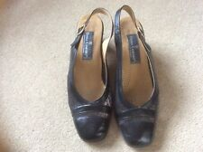 Italian black leather shoes sling back mesh panels size 37 in reasonable con