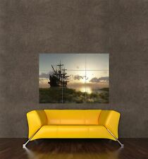 ART PRINT POSTER PHOTO SEASCAPE SUNSET DUSK BEACHED BOATS TREE LFMP0545