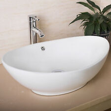 Oval White Bathroom Porcelain Ceramic Vessel Sink Bowl Chrome Faucet Basin Combo