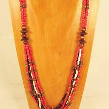 "30"" Long Multi Strand Red Handmade Coco Bead Wood Seed Bead Necklace"