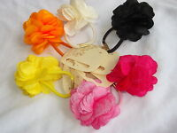 Flower hair bun ring floral silky fabric elastic bobble scrunchie stretchy band