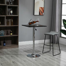 HOMCOM Adjustable Height Bar Table with Metal Frame and Square Tabletop