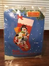 """Titan Needlecraft Snowman 15"""" Felt Stocking Kit 759 Unopened New Vintage 1988"""