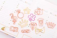 12pc Flamingo Diamond Star Bookmark Paper Clip Hollow Metal Binder Office Supply