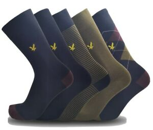Lyle & Scott Socks (Harold) 5 Pairs Premium Cotton Socks BNWT RRP: £24.99