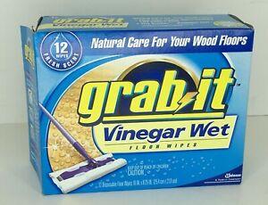Pledge Grab It Vinegar Wet Floor Wipes 12 Ct Natural Care for Wood Floors DISC!