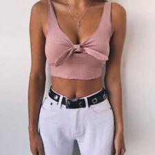 UK Womens Sexy Vest Crop Tops Summer Beach Ladies Tank Blouse Knot T-Shirt Cami