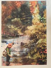 Fly Fishing Fisherman reels in Trout, Net, Stream Fresh Water, Fish, Garden flag