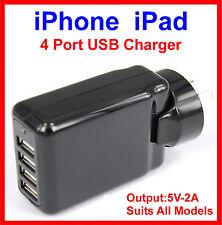 4 Port USB AC Charger Black iPhone 6 5 5S 5C iPad Air 2 Mini 2 3