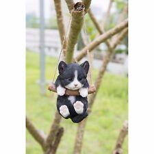 Hanging BLACK/WHITE KITTEN CAT -Life Like Figurine Statue Home Garden NEW