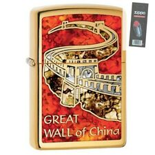 Zippo 29244 Great Wall of China Polish Brass Fusion Finish Lighter + FLINT PACK