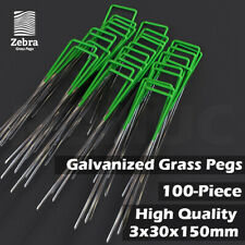 100pcs Grass Pegs Lawn Turf Weed Mat U Pins Stakes Steel Staples Anchor Lawn Sod