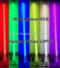 2PCS 3feet Bluetooth AppControl Spiral Wrapped RGB Color-change LED Whips Lights