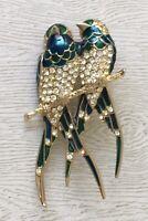 Unique Vintage two  BirdS Pin Brooch enamel gold tone metal