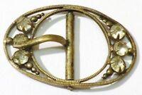boucle ceinture ancienne accessoire vintage couleur or patiné cristal 4960
