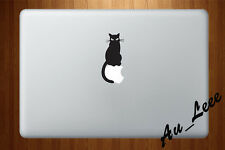 Macbook Air Pro Vinyl Skin Sticker Decal Black Cat Animal Sitting On Apple M728