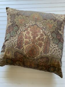 Pottery Barn Cassandra EURO Pillow Cover Velvet Brown Floral with Insert 24 X 24