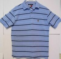 Retro Tommy Hilfiger Blue Stripe Mens Shirt Size M Polo Short Sleeve EUC