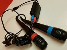 SINGSTAR MICROPHONE SET OF 2.. PLAYSTATION 2 & 3 PS2 PS3 WITH USB ADAPTER...