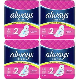 Always Maxi Classic Long Plus Pads Sanitary Towels with Wings - Size 2 - 36 Pack