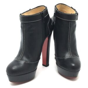 CHRISTIAN LOUBOUTIN Thick heel Zip-up Booties Short Boots Leather Black