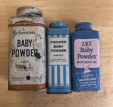 Vintage Lot Of 3 Baby Powder Tin Metal Mennen, Johnson's, Z.B.T.