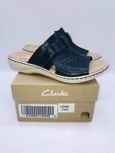 Clarks Collection Women's Leisa Fox Leather Slide Sandals - NAVY LEATHER