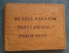 Men's Christian BE STILL KNOW GOD Tan Brown Black GENUINE LEATHER Bifold Wallet