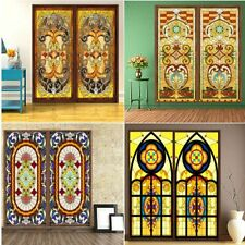Static Cling Window Films Floral Stained Frosted Glass Sticker Home Decoration