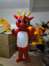 New Professional Red Dragon Mascot Costume Unisex Adult Size Fancy Dress