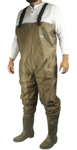 Men's Itasca PVC Chest Waders Size 12 Brown/Green Very Good Condition