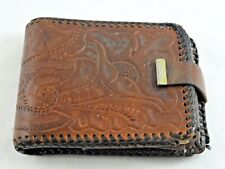 HAND MADE VINTAGE BROWN LEATHER EMBOSSED WITH CLASP BI-FOLD WALLET