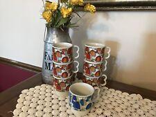 Set of 7 Vintage Stackable Coffee Mugs Retro Mod Groovy Umbrella Pattern Japan