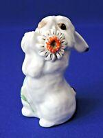 Vintage Porcelain figurine Hare with flower LFZ Lomonosov Soviet Russia USSR