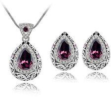 Luxury Vintage Deep Purple Teardrop Jewellery Set Stud Earrings & Necklace S586