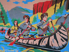 Canoe Trip Indians  Paint By Number  Refrigerator / Tool  Box  Magnet