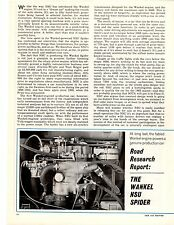 1965 NSU WANKEL SPIDER  ~  ORIGINAL 6-PAGE ROAD TEST / ARTICLE / AD