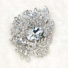 Fashion Lady Wedding Party Flower Brooch Rhinestone Crystal Silver Brooch Pins