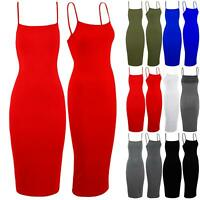 Womens Ladies Strap Cami Sleeveless Bandage Strappy Bodycon Stretchy Midi Dress