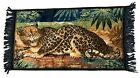 Vintage Cheetah Leopard Tapestry Plush Velvet Wall Hanging Rug 21 X44  w  Fringe