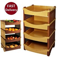 4 Tier Plastic Rattan Vegetable Fruit Rack Basket Kitchen Storage Shelves Stand