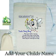 Boys First Tooth Fairy Mini Bag Cotton Drawstring Personalised Keepsake Blue
