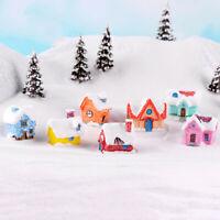 Christmas House DIY Miniature Figurine Dollhouse Decor Xmas Micro Landsc_gu