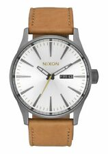 **BRAND NEW** NIXON SENTRY LEATHER GUNMETAL / SILVER / TAN A1052741 NIB!