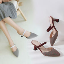 Women's Cone Heel Mules Elastic Mary Janes Pointed Toe Shoes Size US 2~10.5 S662
