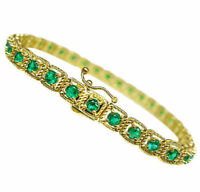 3.0 TCW Round Cut Colombian Emerald Line Bracelet Solid 14K Yellow Gold Over