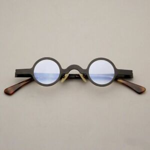 Vintage Small Round Stainless Glasses Frames Black Japanese Artsy Alloy Eyewear